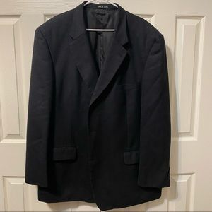 John Clarendon Men's Black & Blue Wool Suit 52L